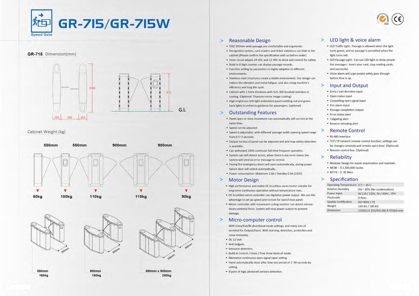Speed Gate GR-715/GR-715W - Made in Taiwan