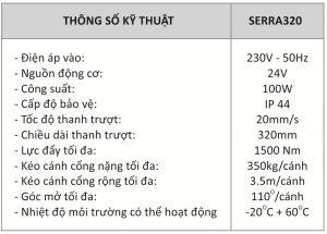 Motor cổng tay đòn SERRA320 (350kg/cánh)